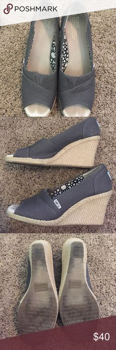 Toms Espadrille Wedges Gray canvas Espadrille wedges. Open toe. In great condition as seen in pics. Fits true to size. TOMS Shoes