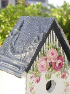 black & white birdhouse w/ roses C.Repasy