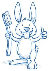 Cute cartoon bunny with shiny teeth, holding a toothbrush, showing thumb up. Hand drawn line art cartoon vector illustration.