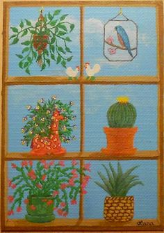 2014 Window Plants 3, Potted Plants, Blue Bird Stained Glass, Giraffe Planter, ACEO Art Card, packrat-2013@ebay
