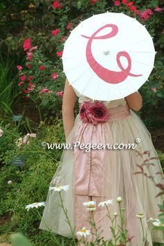 Pink and ivory tulle ballerina flower girl dress