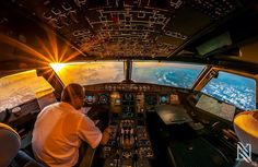 a pilots view at sunrise