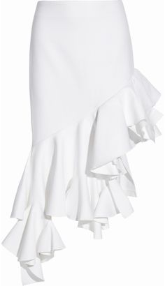 Jacquemus Asymmetric Ruffled Cotton-Piqué Skirt