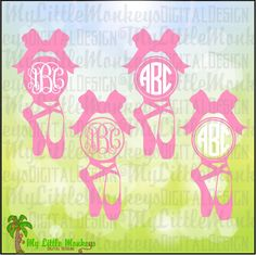 Ballet Pointe Shoes with Bow Monogram Base Design Digital Instant Download Full Color SVG EPS DXF Png and Jpeg Files - pinned by pin4etsy.com