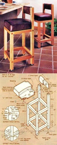 Bar Stool Plans - Furniture Plans and Projects | WoodArchivist.com