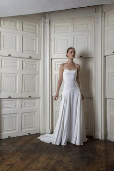 A look at the latest Halfpenny London wedding dress collection, including the inspiration behind this year's ethereal looks. Dream Wedding Dresses, Bridal Dresses, Wedding Gowns, Prom Dresses, Drop Waist Wedding Dress, Plain Wedding Dress, Bridal Fashion Week, London Wedding, Mode Inspiration
