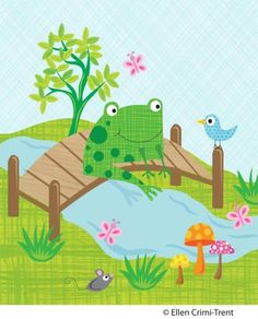 Nursery Art PrintFrog Pond Illustration by EllenCrimiTrent on Etsy, $18.00