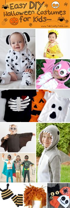 Easy DIY Halloween Costumes for Kids  Made from solid colored hoodies or onesies.