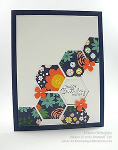 QC Hexagon Punch card using Flower Pot DSP created by Dawn Olchefske (with HSDT video) #dostamping #stampinup