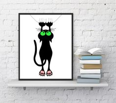 Cat print, Funny cats, Funny animals, Cat wall decor, Cat hanging, Pet silhouette, Funny pets, Cat lovers, Nursery art, INSTANT DOWNLOAD