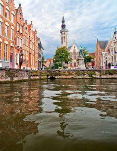 view on Jan Van Eyckplein, Bruges, belgium