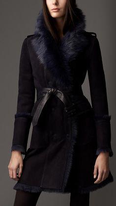 Burberry London Revere Collar Shearling Coat