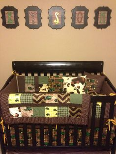 Custom John Deere nursery custom bedding made by TickledPinkQuilts John Deere Baby, John Deere Nursery, Deer Nursery, Baby Boy Rooms, Baby Boy Nurseries, Baby Cribs, Baby Room, Baby Bedding, Camouflage Baby