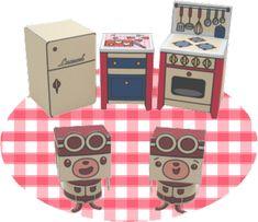dollhouse paper: cocina, Kitchen by lexmark Paper Paper, Paper Toys, Paper Crafts, Diy Crafts, Paper Doll House, Paper Houses, Diy Dollhouse, Dollhouse Furniture, Cardboard Toys