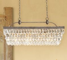 Clarissa Glass Drop Extra-Long Rectangular Chandelier | Pottery Barn - over conference room table