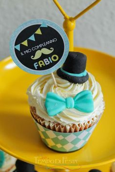 Mustache little man birthday party cupcakes! See more party ideas at CatchMyParty.com!