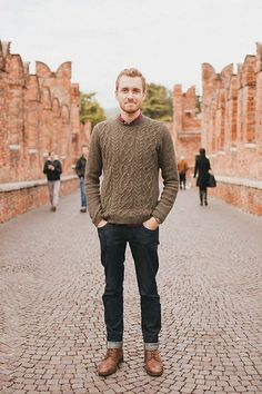 this is a really good way to wear a crew neck sweater.