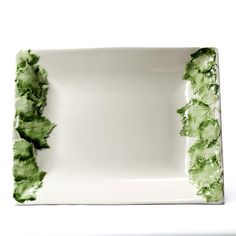 "Intrada Italy - 'Foglia Grape Leaf' Collection - Rectangular Bowl, Green Grape Leaves, 19""L x 15""W"