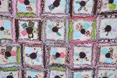 Girl RAG QUILT for Toddler Bed in Pink, Blue, and Brown, Made to Order