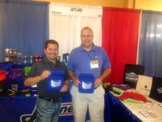 At the booth at a recent tradeshow - our neoprene tablet holders (IT102). Great imprint area, available in 4 colors.
