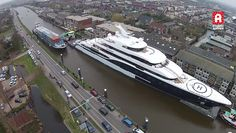 Watch a beautiful arial footage of the gorgeous Megayacht Symphony transported through the town of Alphen aan den Rijn.