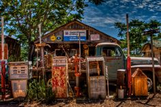 vintage gas pumps at Gold King Mine, Jerome, AZ