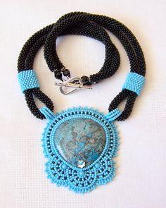 SALE Statement Beadwork Bead Embroidery Pendant Necklace by lutita