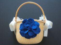 Flower Girl Basket Wedding Sapphire Blue by ArtisanFeltStudio, $25.00