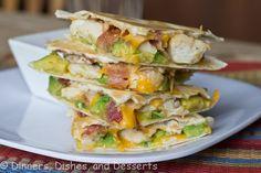 Chicken Bacon Avocado Quesadilla @Dinnersdishesdessert