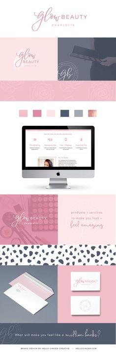Feminine, girly brand identity for hair + makeup artist. Branding by Hello Ginger Creative