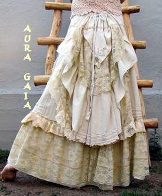 AuraGaia ~Ariadne~ Handfasting Wedding Bridal Skirt BoHo Bustleback Tattered Barefoot Hippie Gypsy Romantic OOAK Upcycled S-M