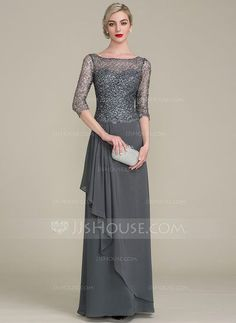 [US$ 122.99] A-Line/Princess Scoop Neck Floor-Length Chiffon Sequined Mother of the Bride Dress With Cascading Ruffles