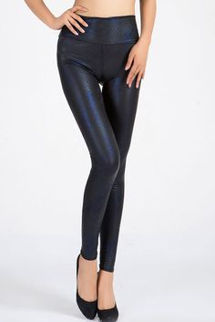 Blue Shadow Metallic Snakeskin Leggings
