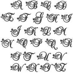 Great Notions Monograms Embroidery Fonts: Rose Monogram Font inches H - DIY Making Ideas Lettering Styles Alphabet, Calligraphy Fonts Alphabet, Alphabet Tattoo Designs, Tattoo Lettering Styles, Mom Tattoo Designs, Graffiti Lettering Fonts, Alphabet Letters Design, Couples Tattoo Designs, Hand Lettering Alphabet