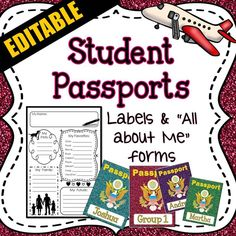 Student Passport labels and back to school All about Me passport foldables - Great for the first day of school, back to school night, meet the teacher night, or simply decorating your classroom and bulletin boards. Social Studies Classroom, Classroom Themes, Autism Classroom, Back To School Night, First Day Of School, Summer School, Travel Bulletin, Cubby Labels, Student Name Tags