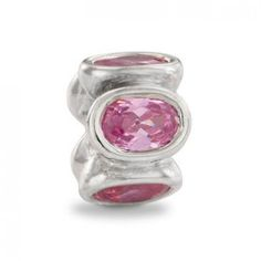 LY4010 Pandora Silver and Pink Zirconia Oval Lights Charm
