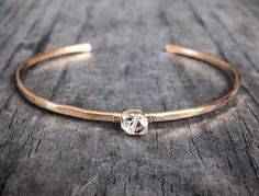 Gold Filled Genuine Double Terminated Quartz Herkimer Diamond Cuff  Bracelet , Hammered Sterling Silver April Birthstone Jewelry