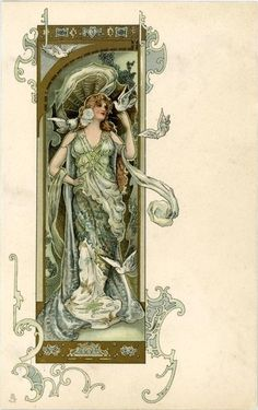 Full Sized Image: woman wearing green, doves on left hand & right shoulder, two flying, she looks right - TuckDB Postcards Art Nouveau Mucha, Alphonse Mucha Art, Bijoux Art Nouveau, Art Nouveau Poster, Art Nouveau Design, Style Floral, Decoupage, Illustrator, Art Nouveau Illustration