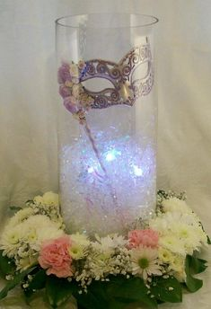 Cylinder vase with filler and LED light underneath - No to the flowers!