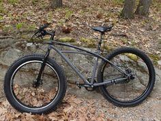 My Trek Sawyer rigid steel mountain bike. Rohloff 14 speed rear hub, Gates belt drive and Surly fat front.