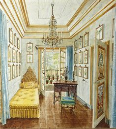 Alexandre Serebriakoff : One room of Patricia Lopez-Willshaw's suite at Hotel Rodocanachi, a 1903 mansion that she shared with her husband Arturo Lopez- Willshaw in the Paris suburb of Neuilly-sur-Seine // Watercolor, 1951 Interior Rendering, Interior Sketch, Interior And Exterior, Paris Suburbs, Antique Interior, Vintage Interiors, Classic Interior, Architectural Digest, Gouache