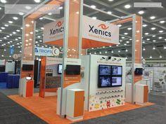 Good way to add hanging banners to a stand without rented drop wires - XEN12TradeShowDisplayRental5 Xenics 2012 20x20 Trade Show Display Rental