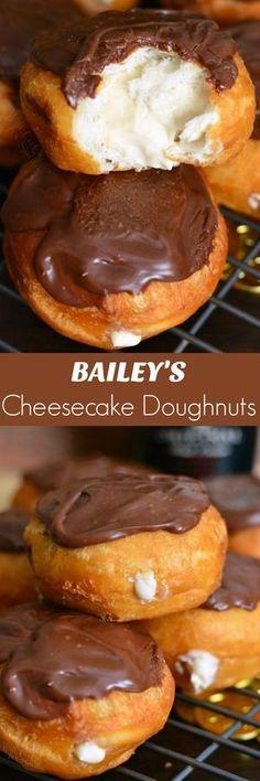 - Bailey's Cheesecake Doughnuts. Easy doughnuts are filled with Bailey's cheesecak… Bailey's Cheesecake Doughnuts. Easy doughnuts are filled with Bailey's cheesecake mixture and topped with Bailey's flavored milk chocolate ganache. Donut Recipes, Baking Recipes, Cookie Recipes, Dessert Recipes, Kitchen Recipes, Baileys Recipes, Appetizer Recipes, Baileys Cheesecake, Cheesecake Recipes