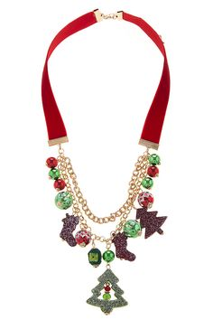 CHRISTMAS CHARM VELVET NECKLACE SET