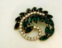 Emerald Green AB Rhinestone Vintage Pin Brooch by bitzofglitz4u, $35.00