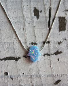 Unique color of a Hamsa opal necklace - baby blue opal, 13X11mm Hand of Fatima pendant by GivonJewelry - 27.00$
