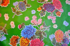 Mexican Oil Cloth Mums in Green