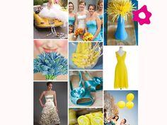 Decoração do casamento em azul e amarelo