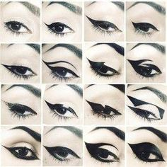 Emo Eyeliner, Eyeliner Tattoo, No Eyeliner Makeup, Eyeliner Ideas, Eyeliner Stencil, Lip Makeup, Makeup Cosmetics, Beauty Makeup, Eyeliner Designs