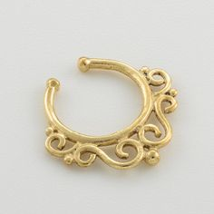Clip Septum Ring. gold septum ring. faux septum by Umanativedesign